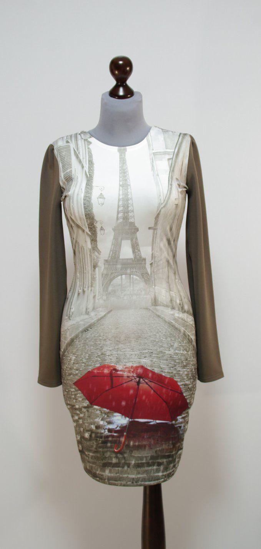 Серое платье с фото Эйфелевой башни, рукава и спинка цвета капучино | Платье-терапия от Юлии