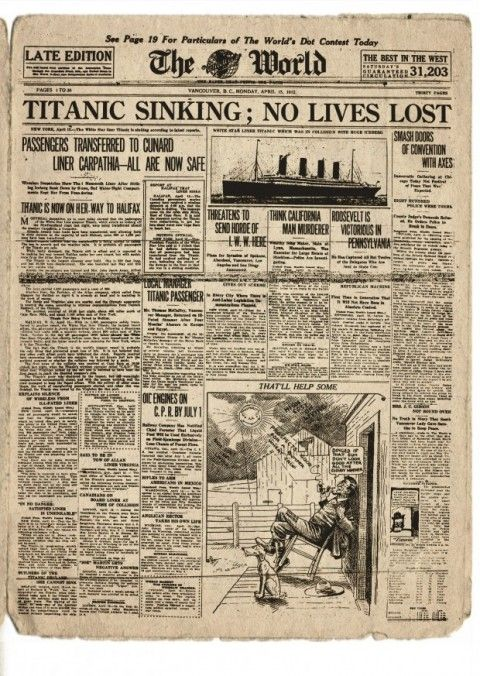 """Titanic Sinking; No Lives Lost"" and Other Terribly Innacurate News Reports from April 15, 1912"