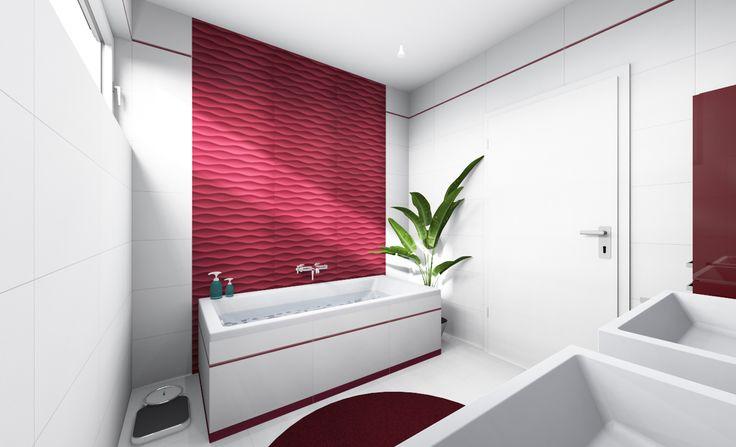 kombinácia farieb biela a bordová v dizajnovej kúpeľni