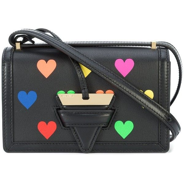 Loewe Small Barcelona Bag with Multicolor Hearts found on Polyvore featuring bags, handbags, shoulder bags, kirna zabete, kz's most wanted, kzloves /, leather cross body handbags, leather crossbody handbags, genuine leather shoulder bag and leather shoulder handbags