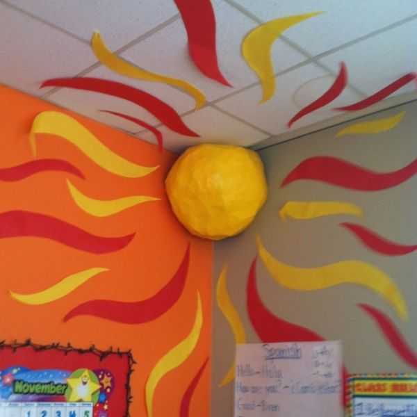 Creative Summer Classroom Decorating With 3D Sun On The Corner Ideas   Summer  Decorations For Classroom