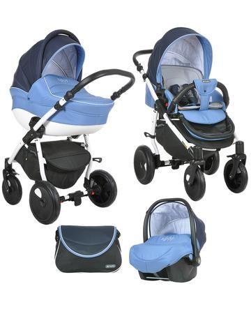 Tutis Zippy Orbit белая рама сине-голубая  — 29400р. ----------- Коляска 3 в 1 Tutis Zippy Orbit белая рама сине-голубая - это транспортная система для детей от рождения до 3 лет. В комплект входят шасси, люлька, прогулочное сиденье, автокресло, дождевик, москитная сетка, сумка для мамы.