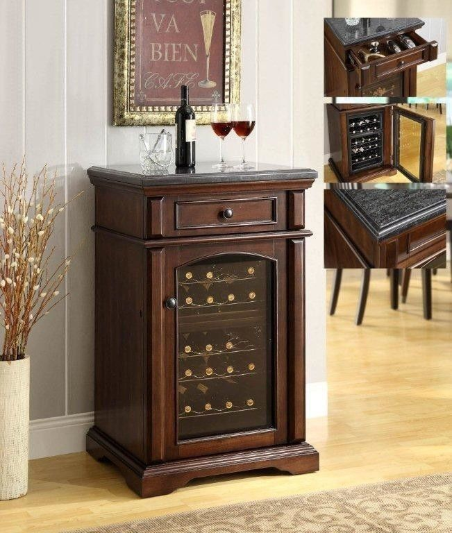 Walnut-finish granite top wine cooler with outstanding ...