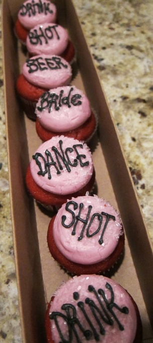 "Bachelorette Cupcake Game! Just have the bride to be trade a cupcake for what's written on it! (""Bride"" being the bride's choice)"