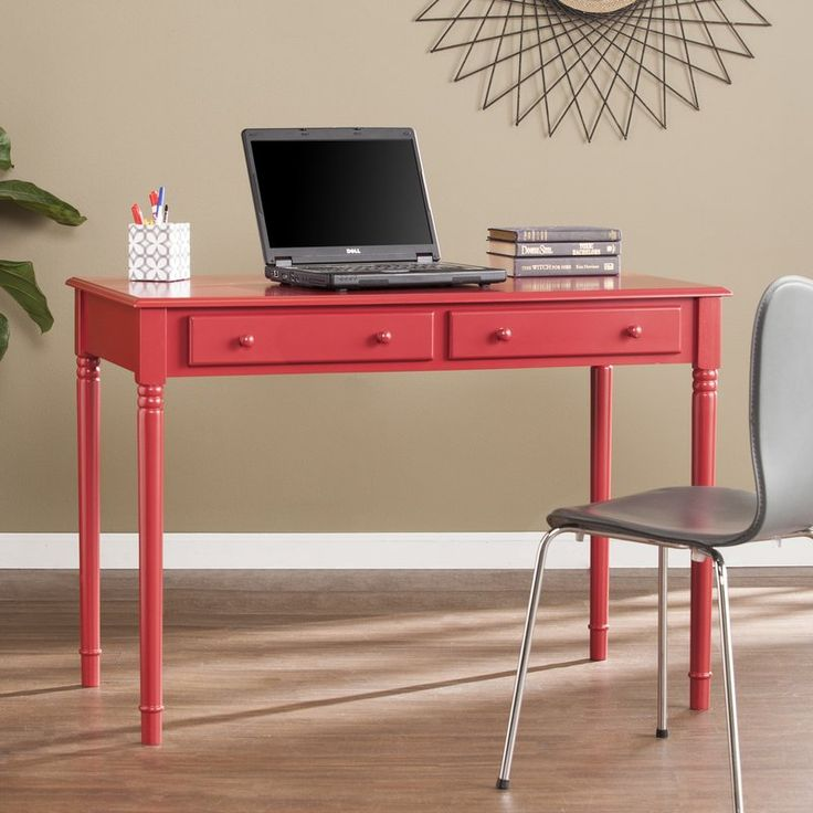 Study in style with this colorful soft country desk. Deep drawers tidy your office accessories, craft supplies, or even recipes and flatware; spacious desktop provides ample work space for writing, drafting, or a small kitchen appliance station. Bold blue hue puts a primary twist on the farmhouse look. Traditional turned legs and simple, fully finished silhouette work well in any room. Ace Feng Shui with this easygoing desk in the home office, craft room, or eat-in kitchen.