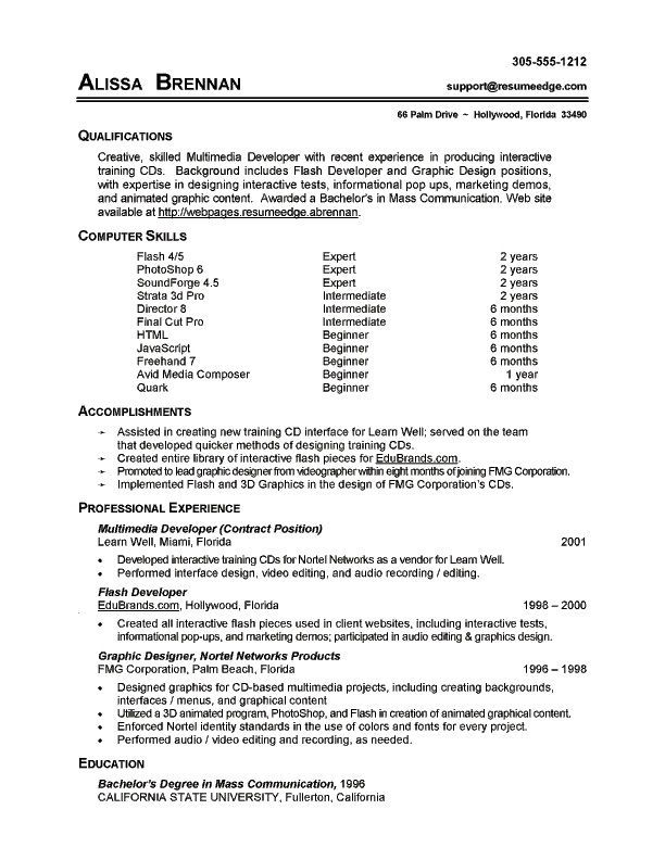 sample of a basic resumes