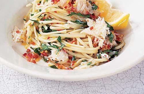 Crab pasta with chilli