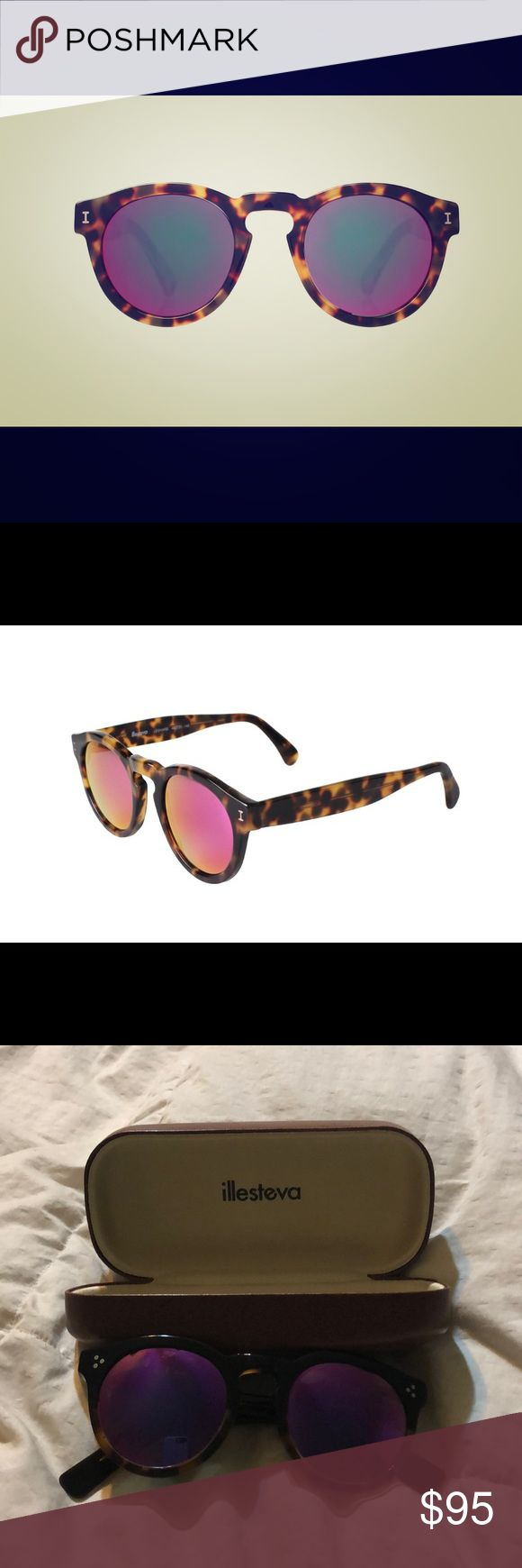 Leonard Sunglasses Tortoise/ Pink Mirrored Lenses In perfect condition comes with case.. . Handmade in Italy. Synonymous with Illesteva, the signature Leonard sunglass frame.  Its three-barrel hinge provides great comfort and is able to withstand even the craziest everyday use. Illesteva Accessories Sunglasses
