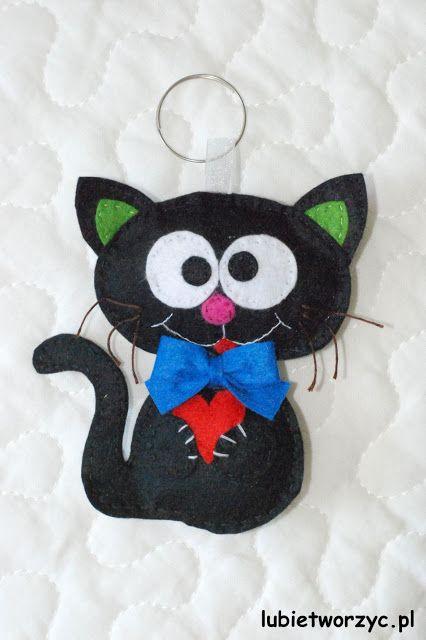Lubię Tworzyć: Kotek z filcu - zawieszka