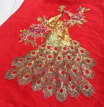 1 stuks mode rode mesh paillette borduren bloem pauw motief applique pailletten kostuum voor diy pauw patch applique(China (Mainland))