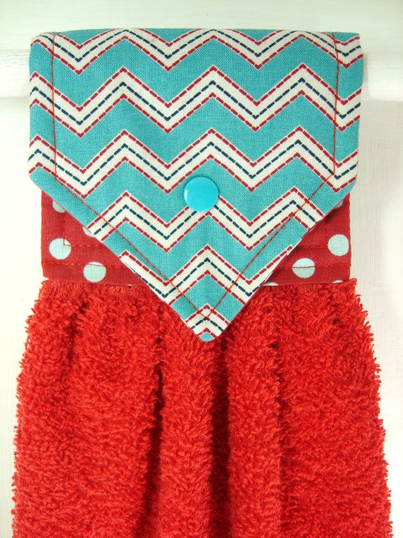 Red and Teal Chevron Hanging Hand Towel Red by MarlenesSewingRoom