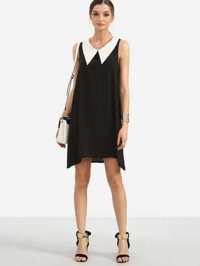 Shop Black Contrast Collar Sleeveless Swing Dress online. SheIn offers Black Contrast Collar Sleeveless Swing Dress & more to fit your fashionable needs.