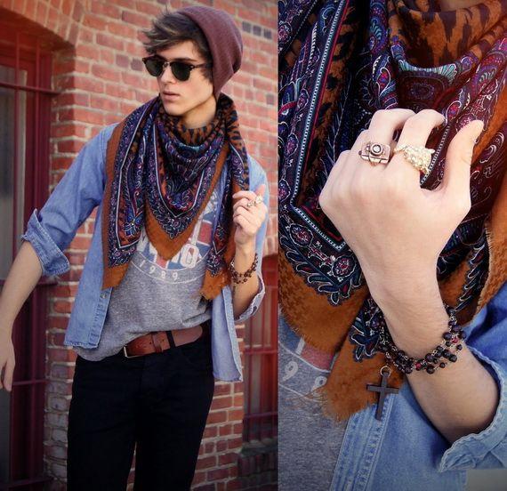 denim shirt, grey print t-shirt, tan scarf, black pants, leather belt