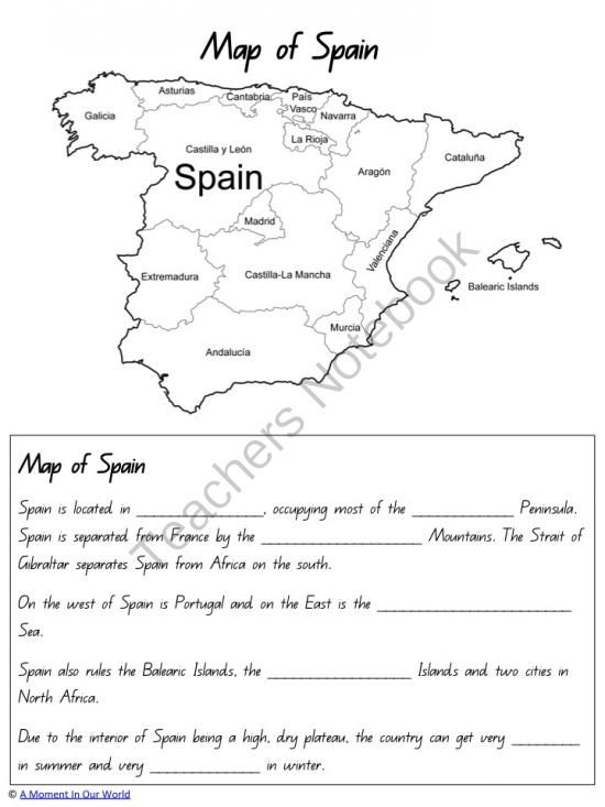 Spain Unit from amiow from amiow on TeachersNotebook.com (95 pages)  - Learn all about Spain!