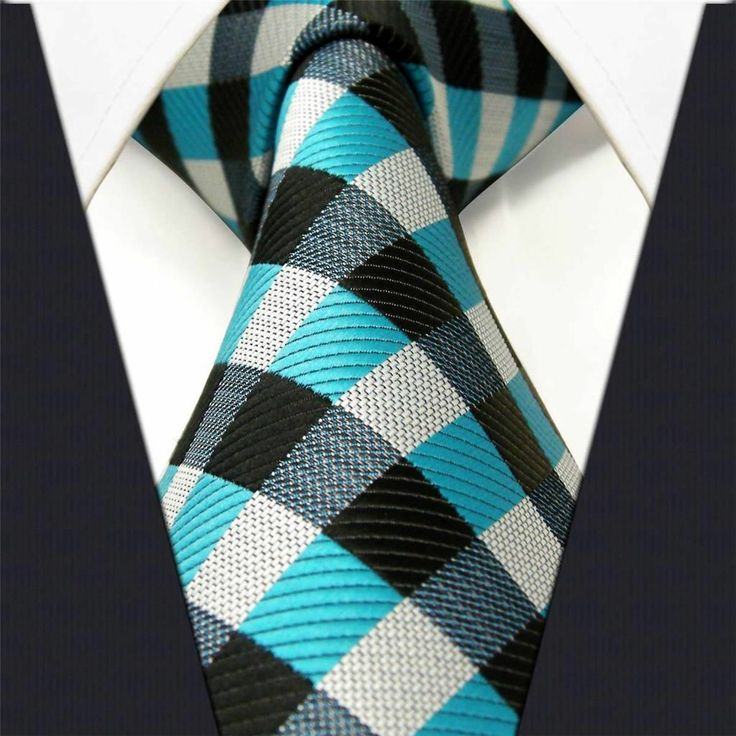 Black / Gray / Blue Check - Neckties Only Collection - NT013g 25% off discount code: pinterest @ NecktiesOnly.com