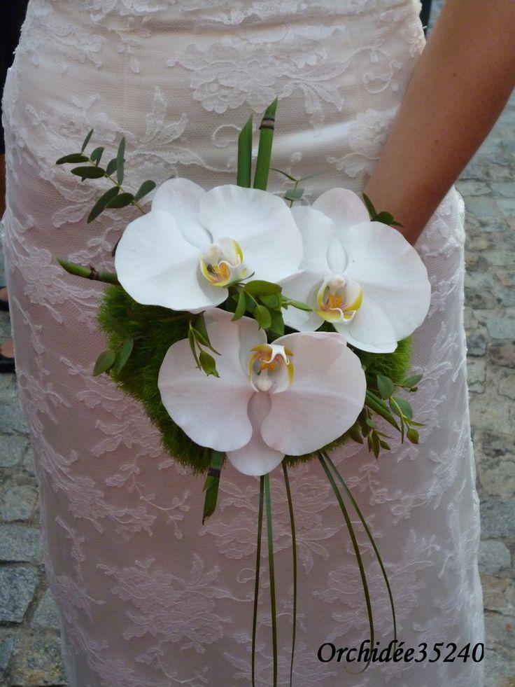 Je remercie Anaïs et Alexandre de m'avoir accordé toutes leurs confiances. Bouquet de mariée Orchidées, dianthus, prêle, bergrass, eucalyptus