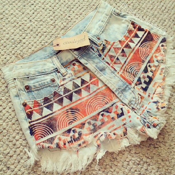 Cute Aztec cutoff shorts<3