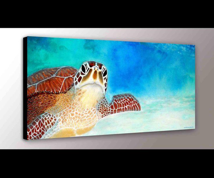 Sea Turtle Decor | Sea Turtle Art | Ocean Art | Marine Life | Canvas Print | Turtle Art | Green Sea Turtle | Nursery Art | Turtle Gift