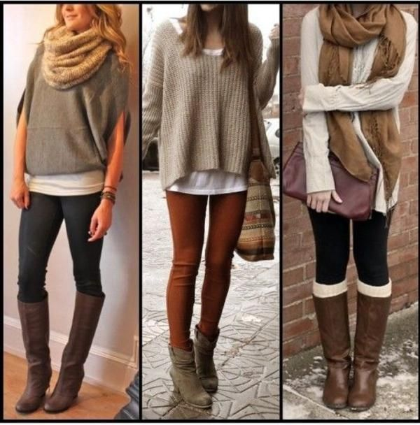 a tan knit oversized sweater and tobacco leggings. Lets make a bit more effort now and rock a pair of brown suede ankle boots. Personally I would wear