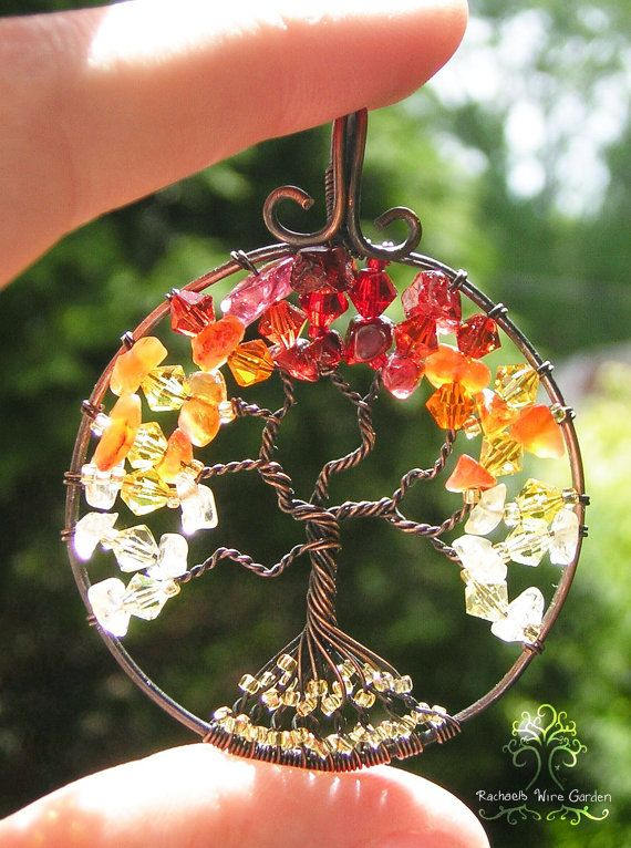 Burning Bush Tree of Life Wire Wrapped Pendant Jewelry