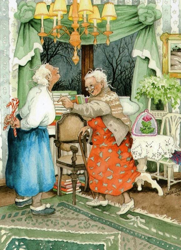 Открытка с старушками-веселушками