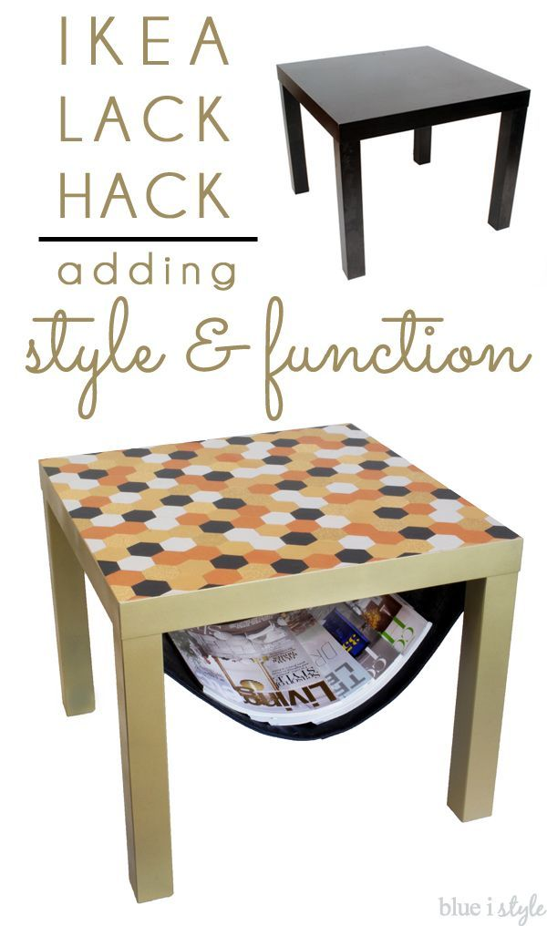 A simple IKEA LACK side table gets a glam new and a DIY magazine sling below the table. Bonus points for both style AND function!