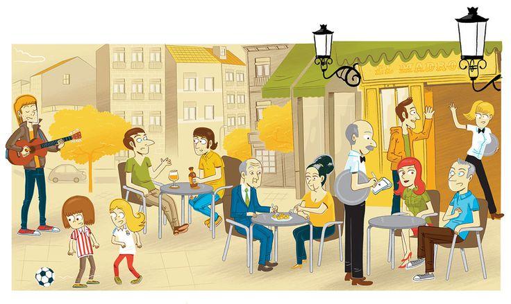 """Aula 2 (1/2)  Ilustraciones para el número 2 de """"Aula"""" (curso pionero para el aprendizaje del Castellano en el extranjero).  Cliente: """"Aula 2"""" Editorial Difusión ELE (Barcelona) Septiembre 2013"""