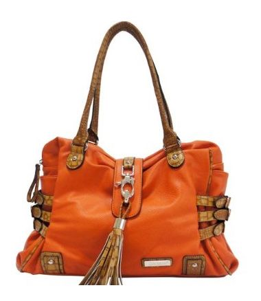 Crocodile Animal Print Trim Shoulder Handbag w/ Belted and Tassel Accents Orange $50.96 .  #fashion #women #meinstyle #bags