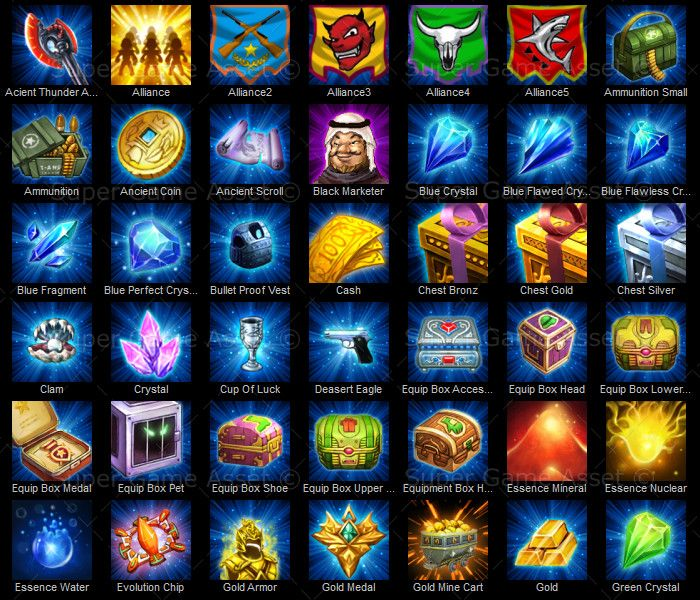 Strategy Game Item Icon Set - This icon set include modern military themed consumable items, quest items, medals, crystals, chest boxes. suitable for battle themed games, RPG games. Icons can be renamed to match your own game.