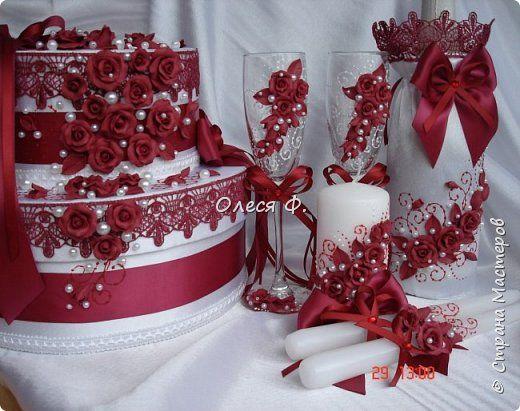Свадебный комплект в модном ныне винном цвете МАРСАЛА. Выполнен на заказ.  фото 1