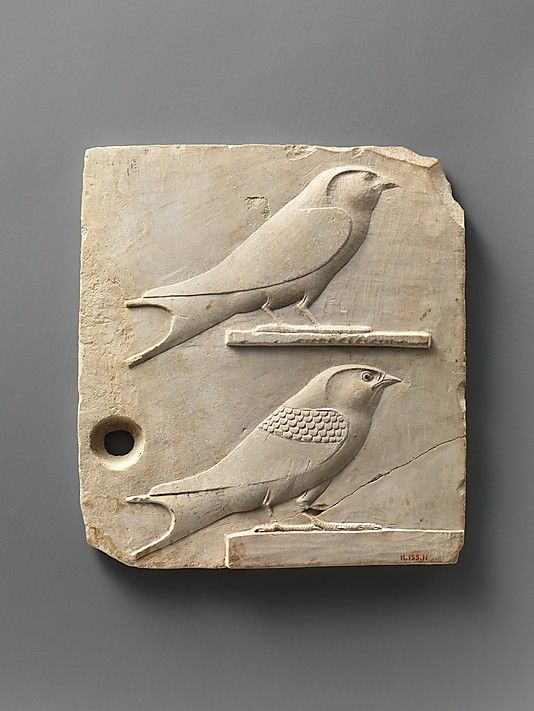 Relief plaque with two swallows, opposite side two quail chicks - 400–30 B.C.