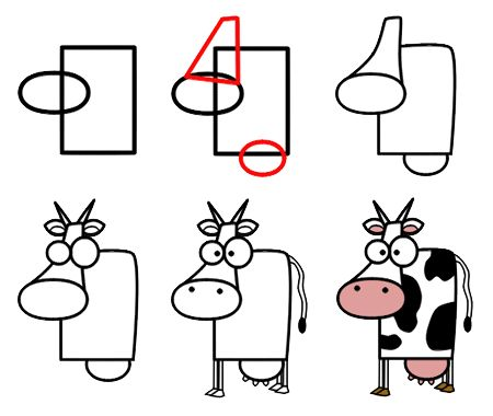 I love this cartoon cow. So simple, so cute, so ... stunned! Why do you think this cartoon animal seems so surprised? :)