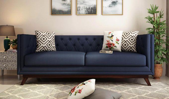 Buy Berlin 3 Seater Sofa Fabric Indigo Ink Online In India Fabric Sofa Sofa 3 Seater Sofa