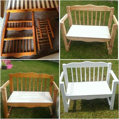 daughters old toddler bed turned into a garden bench rachel armstrong do it yourself diy. Black Bedroom Furniture Sets. Home Design Ideas
