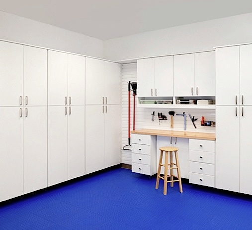 A For Mechanical Tasks And Wood Shop Projects This Classicii Garage Cabinets System Offers Plenty Of Garage Cabinets Garage Closet Closet Organizing Systems