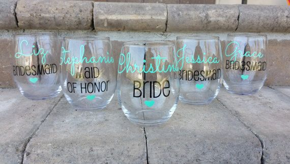 Bridesmaid gift Bridesmaid Wine Glasses by WeddingsByLeann on Etsy