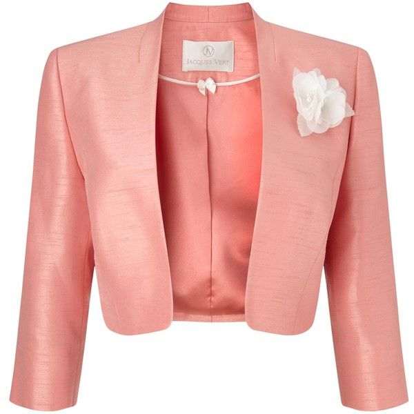 Jacques Vert Stand Collar Bolero, Soft Coral (£64) ❤ liked on Polyvore featuring outerwear, jackets, plus size bolero, collarless jacket, stand up collar jacket, coral jacket and cropped jacket