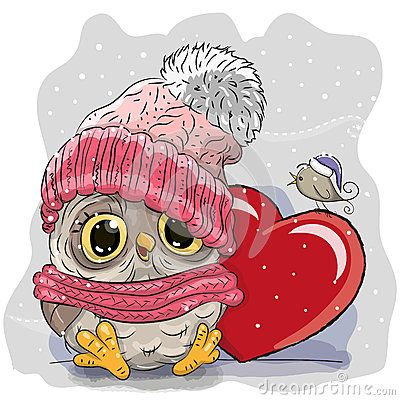 Cute Cartoon owl in a knitted cap