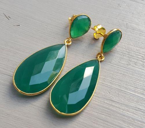 Goud vergulde oorbellen gezet met groene Onyx | Goud Vergulde Oorbellen | Vergulde Edelsteen Sieraden | Zilveren Edelsteen Sieraden