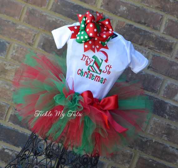 Only the onesie though, less is more - My First Christmas Tutu Outfit My First Christmas by TickleMyTutu, $54.95