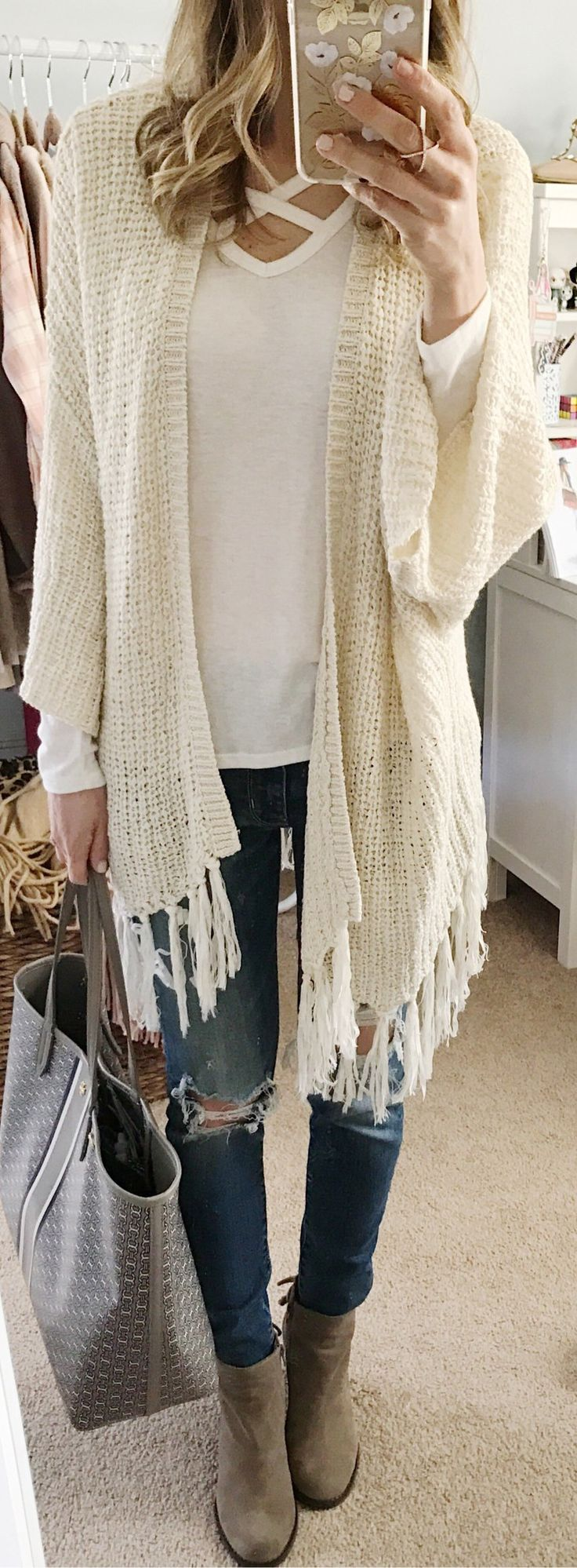 White Fringe Cardigan / White Tee / Ripped Skinny Jeans / Grey Suede Booties