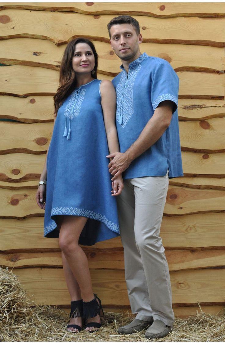 Чоловіча сорочка-вишиванка з коротким рукавом та коротка жіноча сукня-вишиванка з рукавом 3/4. Тканина льон. Замовити жіночу та чоловічу вишиванку в онлайн-магазині ОРНАМЕНТ з доставкою по Україні. В наявності.