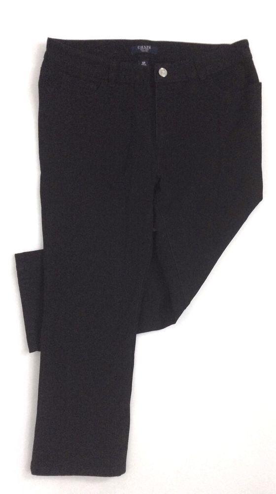 Womens Cropped Jeans CHAPS PETITE  / Black Stretch Cotton Denim Capri (10P) #Chaps #CapriCropped