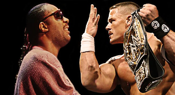 "That awkward moment when professional wrestler John Cena does his signature ""You Can't See Me"" move to singer Stevie Wonder during a celeberty grudge charity match."