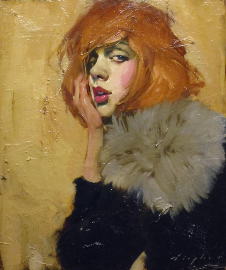 Malcolm T Liepke - Contemporary Artist - Figurative Painting - Fur Collar