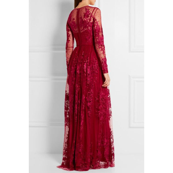 Zuhair Murad Embroidered silk-blend tulle gown ($3,915) ❤ liked on Polyvore featuring dresses, gowns, floral evening gown, floral evening dresses, long evening gowns, floral print evening gown and tulle dress