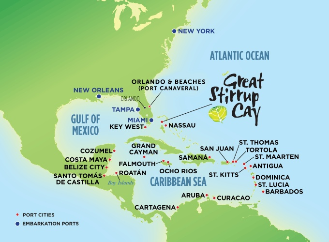 Caribbean Cruises Ports Map  I Have Lots Of Ports Still