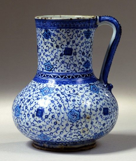 Fritware jug, painted in blue and turquoise under a transparent glaze, Iznik, Turkey; c. 1540