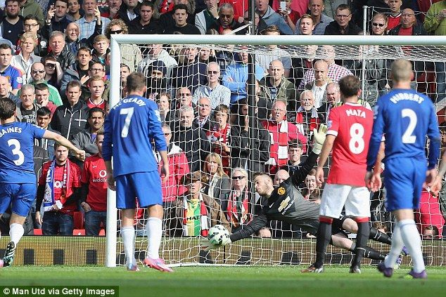 Spaniard De Gea saved Leighton Baines' penalty as Manchester United defeated Everton at Ol...