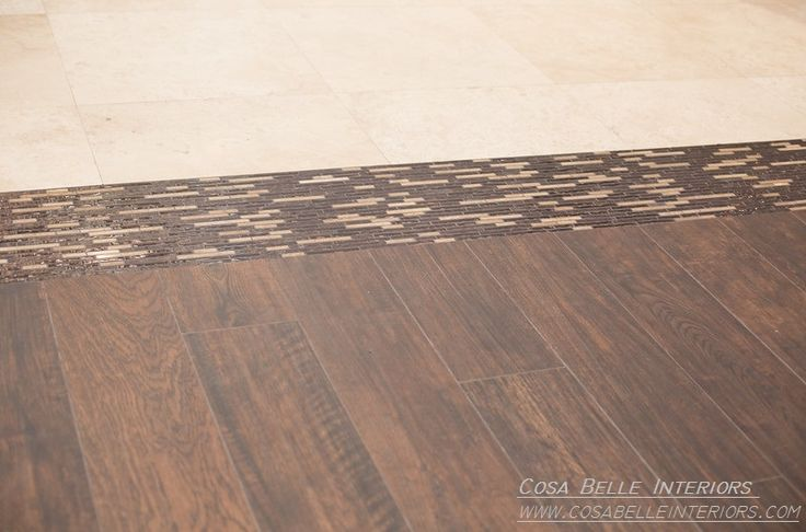"""Cosa Belle Interiors: Scottsdale Eclectic Design flooring transition featuring stone and glass mosaic tile with 24"""" x 24"""" travertine tile reclaimed wood flooring."""